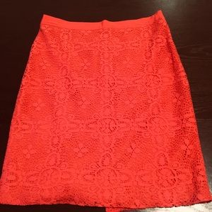 Coral Lace Pencil Skirt